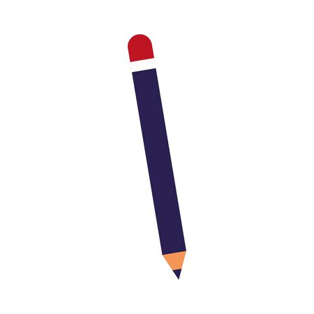 pencil utensil icon over white background, flat design, vector illustration 矢量图像