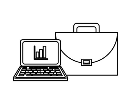 portfolio briefcase with laptop and statistics vector illustration design