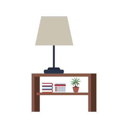nightstand with lamp and books over white background, vector illustration