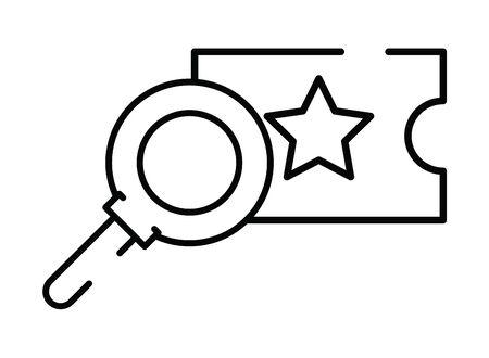 Recherche de loupe avec ticket vector illustration design