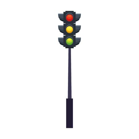 Traffic light icon over white background, colorful design, vector illustration