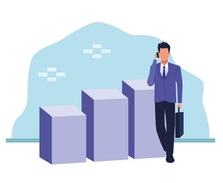 Avatar businessman standing et graphiques à barres sur fond bleu et blanc, design coloré , vector illustration