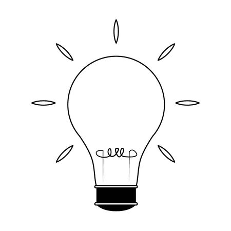 light bulb bright icon over white background, flat design, vector illustration