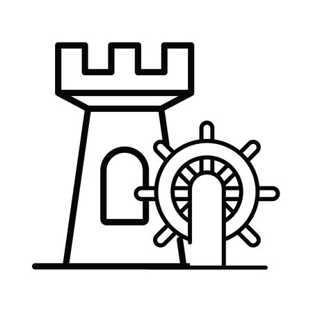 helm boat with tower isolated icon vector illustration design