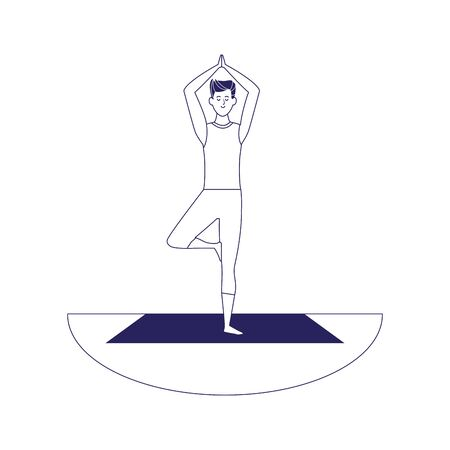 man doing yoga outdoors icon over white background, flat design, vector illustration