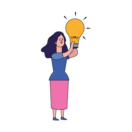 cartoon girl with light bulb over white background, vector illustration