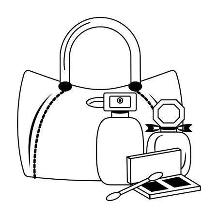 Makeup and women fashion bag with perfumes and eye shadow vector illustration graphic design Vektorgrafik
