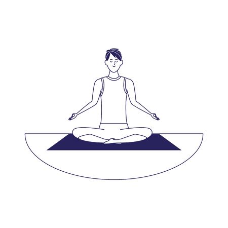 Relaxed man practicing yoga over white background, flat design, vector illustration Illustration