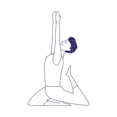 young man doing yoga icon over white background, flat design, vector illustration Vettoriali