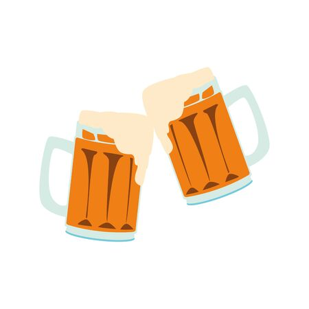 beer mugs icon over white background, vector illustration