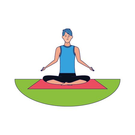 Relaxed man practicing yoga over white background, colorful design, vector illustration Vettoriali