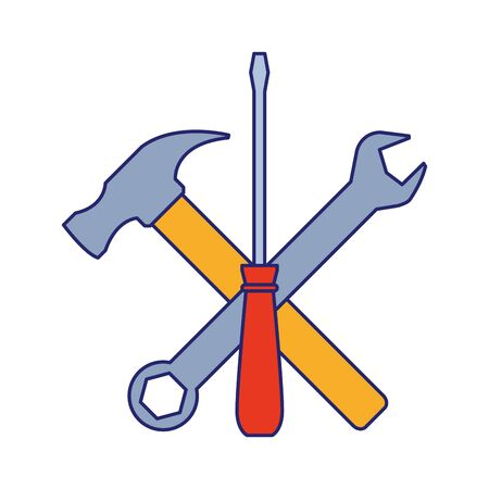 hammer, wrench and screwdriver tools over white background, vector illustration Stock Illustratie