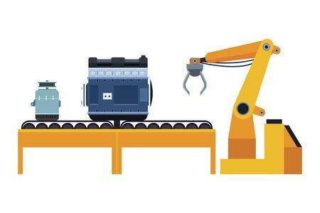 car service manufacturing machines cartoon vector illustration graphic design
