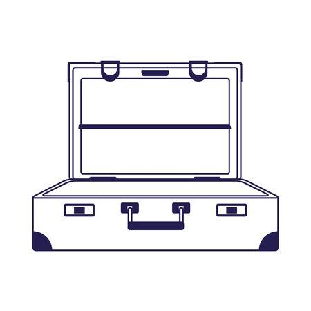 geöffnetes Reisekoffersymbol auf weißem Hintergrund, Vektorillustration