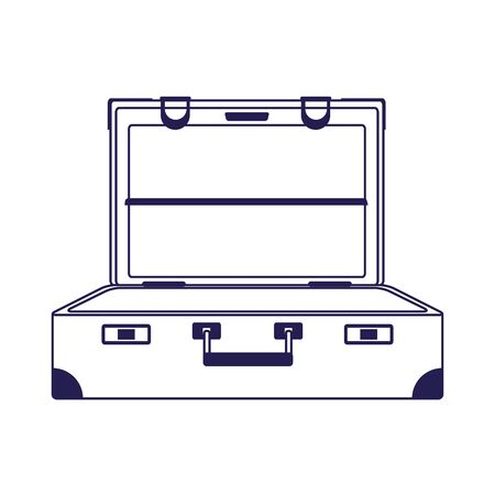 opened travel suitcase icon over white background, vector illustration