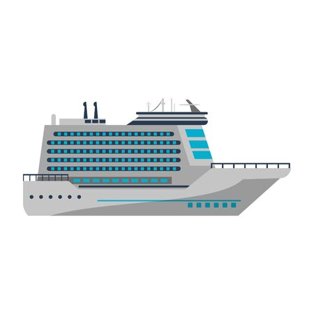Cruise ship boat sideview isolated vector illustration graphic design Vektorové ilustrace