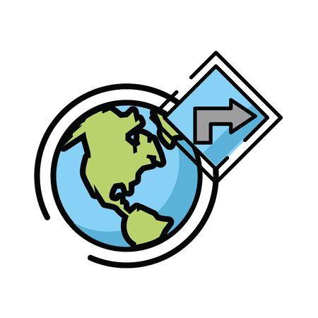 traffic arrow signal with world planet vector illustration design