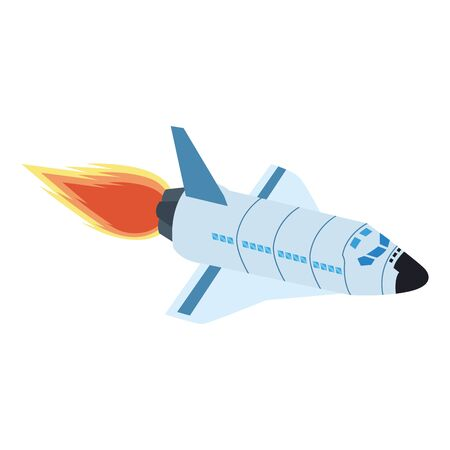 spaceship with flame icon over white background, vector illustration