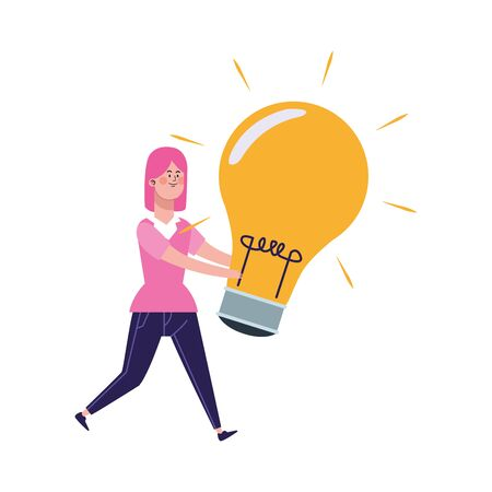 cartoon girl with big light bulb over white background, vector illustration