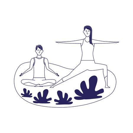 relaxed couple doing yoga outdoor over white background, flat design, vector illustration