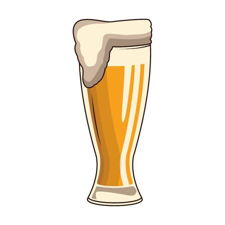 glass with beer icon over white background, vector illustration