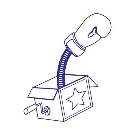 joke box with boxing glove icon over white background, vector illustration Illustration