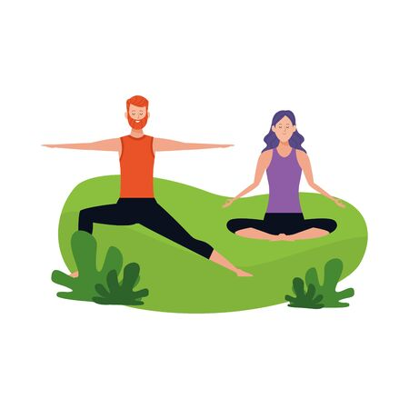 happy couple doing yoga outdoor over white background, vector illustration
