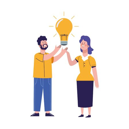 man and woman with big light bulb icon over white background, vector illustration