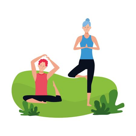 woman and man practicing yoga outdoors over white background, vector illustration