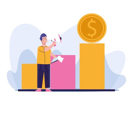 man using a megaphone and money coin on chart bar graph over white background, colorful design, vector illustration