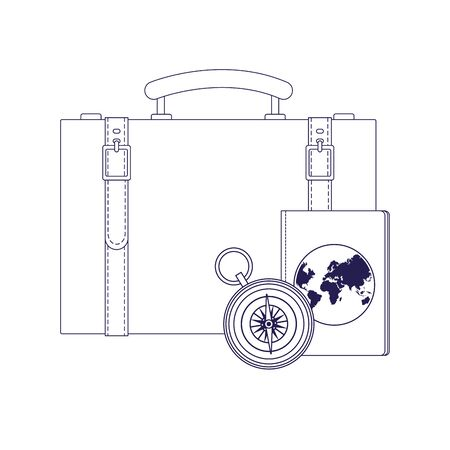 travel suitcase with passport and compass over white background, vector illustration