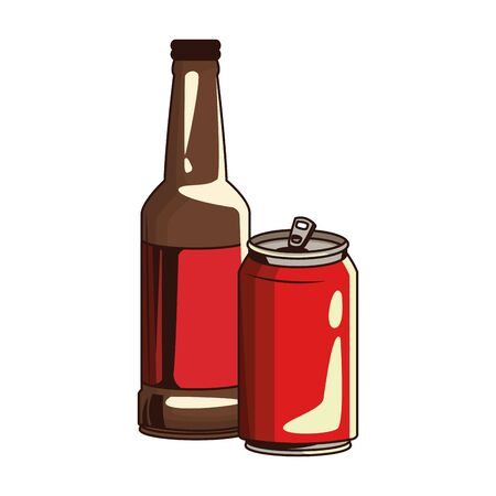 beer bottle and soda can icon over white background, vector illustration