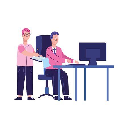 cartoon businessmen at office desk over white background, colorful design, vector illustration Foto de archivo - 139417941