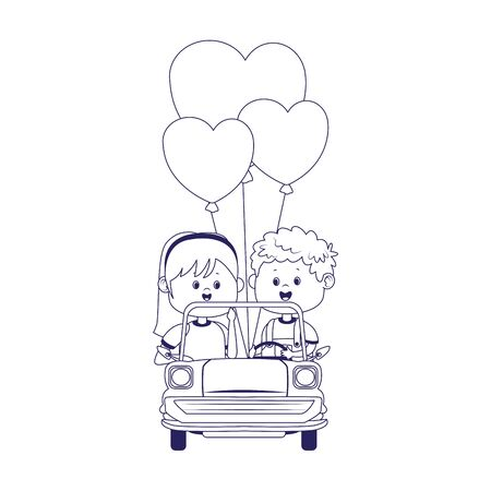 Happy boy and girl in a classic car with heart balloons over white background, flat design, vector illustration Illustration