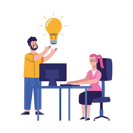 cartoon man with bulb and woman working at office desk over white background, vector illustration Foto de archivo - 139420086