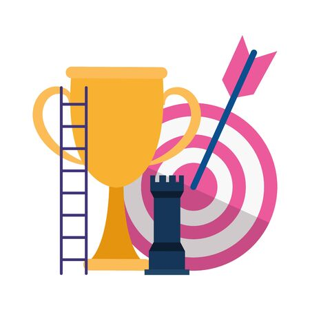 trophy cup with target and rook piece over white background, vector illustration