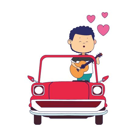 classic car with man singing over white background, colorful design, vector illustration