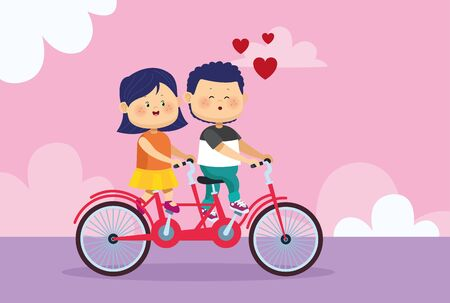 cartoon happy couple riding a tandem bike over pink background, colorful design, vector illustration