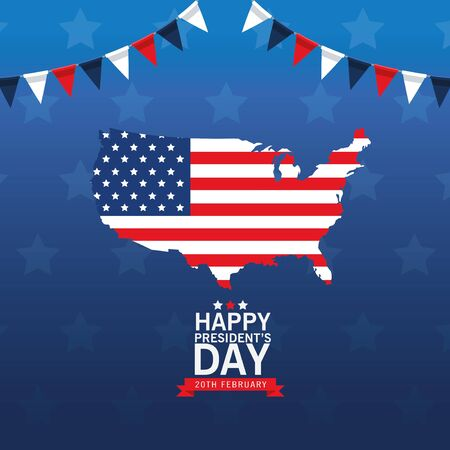 happy presidents day poster with usa map and flag vector illustration design Ilustrace