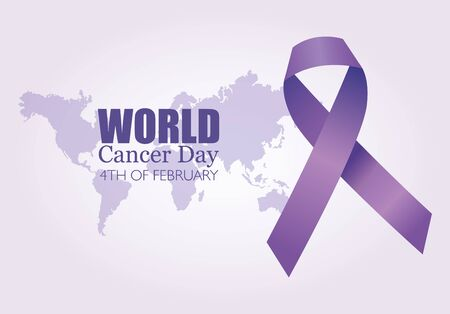 world cancer day poster with ribbon and planet earth vector illustration design  イラスト・ベクター素材