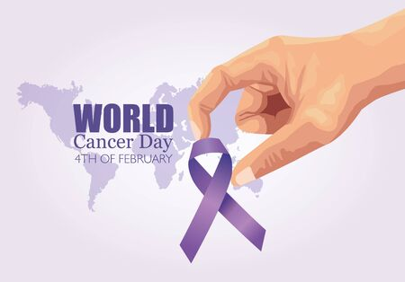 world cancer day poster with hand and ribbon vector illustration design