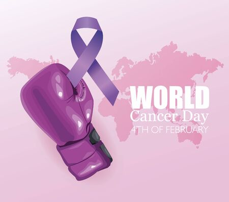 world cancer day poster with glove boxing and ribbon vector illustration design