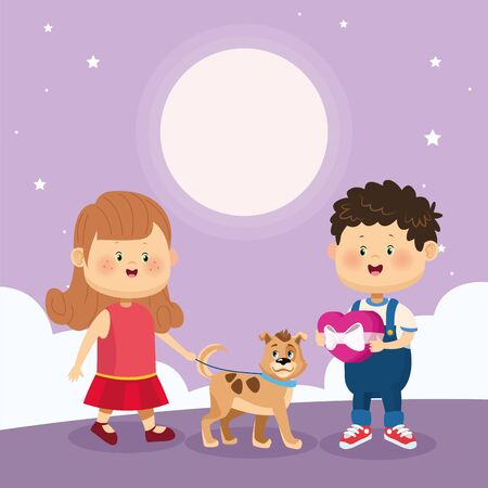 happy boy and girl with cute dog over purple nightfall background, colorful design, vector illustration Illustration