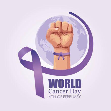 hand with ribbon of world cancer day vector illustration design Illustration
