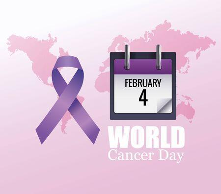 world cancer day poster with calendar and ribbon vector illustration design Illustration