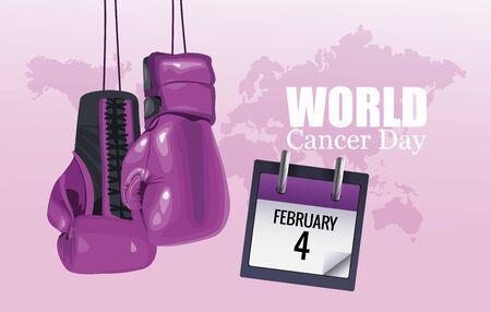 world cancer day poster with boxing gloves and calendar vector illustration design Illustration