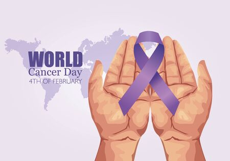 world cancer day poster with hands and ribbon vector illustration design  イラスト・ベクター素材