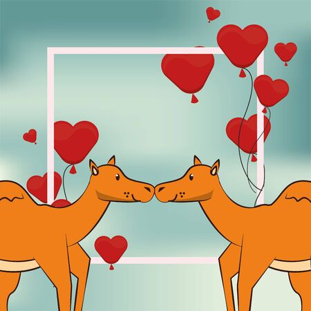 happy valentines day card with cute camels couple vector illustration design