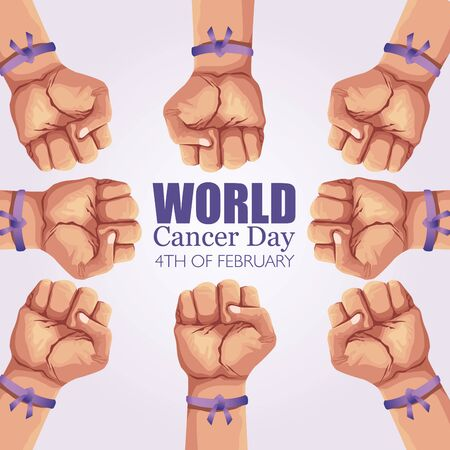 world cancer day poster with hands and ribbon vector illustration design Illustration