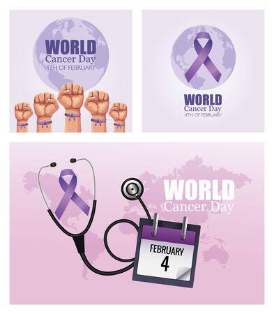 world cancer day set poster icons vector illustration design